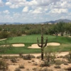 A view of a well protected green at Dove Valley Ranch Golf Club
